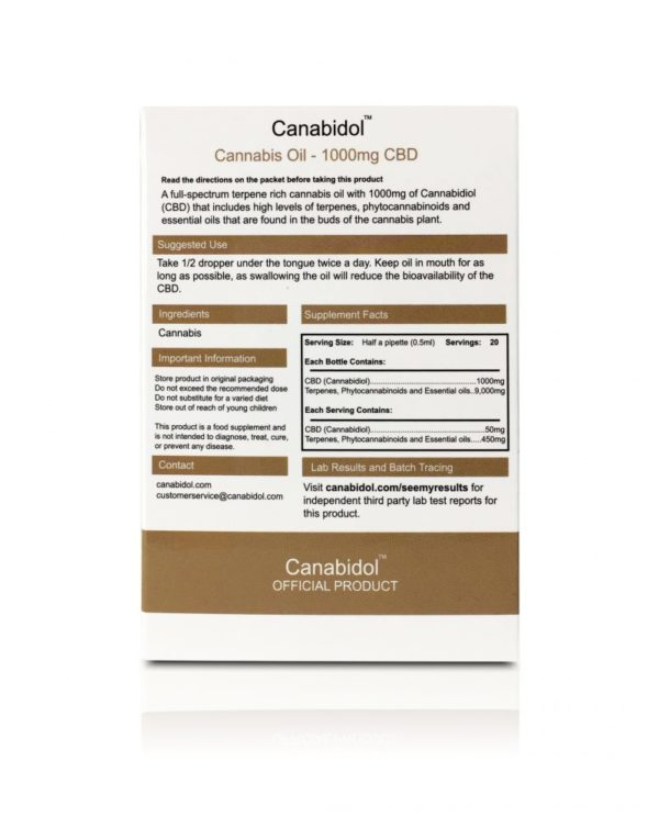 Canabidol CBD Oil 1000mg - BACK