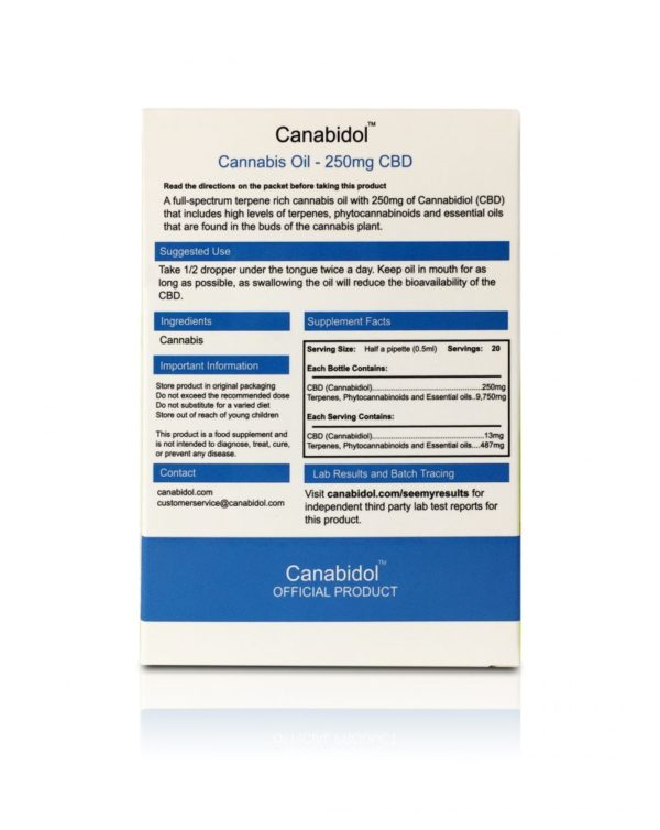 Canabidol CBD Oil 250mg - BACK