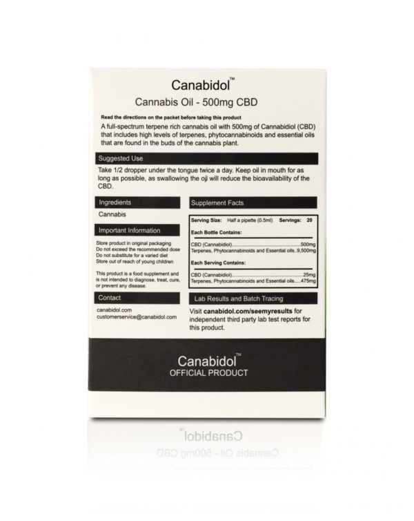 Canabidol CBD Oil 500mg - BACK