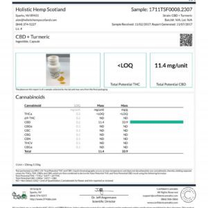 Holistic Hemp Scotland CBD Capsules + Turmeric (300mg) Lab Report-1