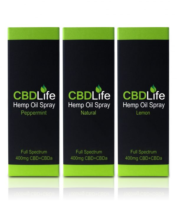 CBD Life 400mg Oil Range packaging