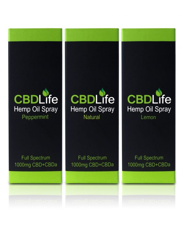 Cbd Life 1000mg oil range in packaging