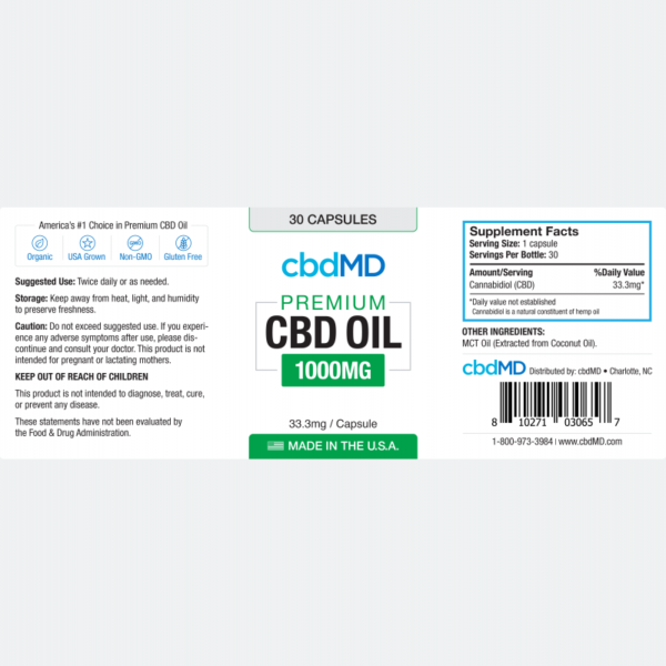 cbdMD CBD Oil Capsules 1000mg (2)