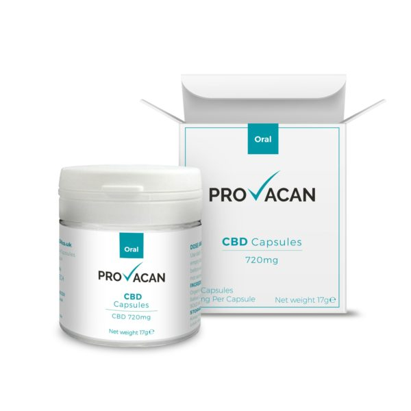 Provacan CBD capsules with BOX mockup 720mg